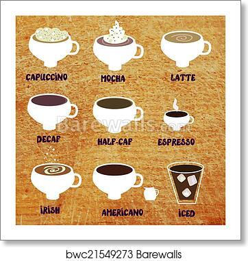 Type Of Coffee Funny Menu Illustration Art Print Barewalls Posters Prints Bwc21549273
