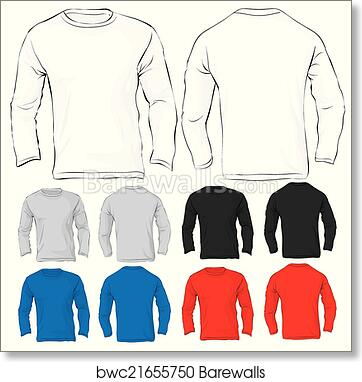Art Print Of Mens Long Sleeved T Shirt Template In Many Color