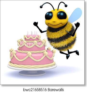 Brilliant 3D Honey Bee Has A Birthday Cake Art Print Barewalls Posters Personalised Birthday Cards Veneteletsinfo