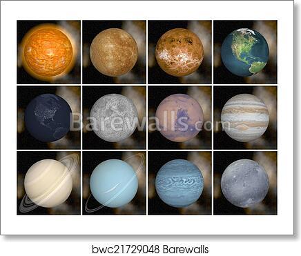 art print of solar system planets 3d render barewalls posters