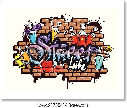 Graffiti Word Characters Composition Art Print Barewalls Posters