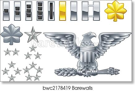 Perfect Art Print Of American Army Officer Ranks Insignia Icons