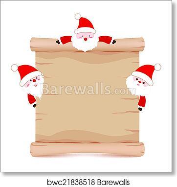 art print of santa claus and parchment sign barewalls posters