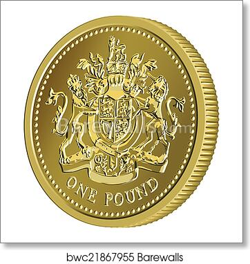Vector British money gold coin one pound with the coat of arms art print  poster