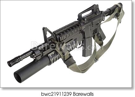 art print of m4 carbine equipped with an m203 grenade launcher