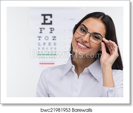 Portrait Of Happy Smiling Young Woman Girl Holding Glasses In Eye Doctor Isolated Over White Background Art Print Poster