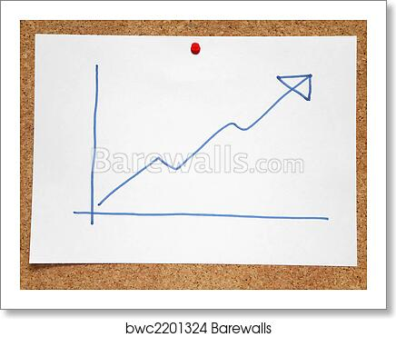 Art Print Of A Hand Drawn Positive Profits Chart On A Cork Notice