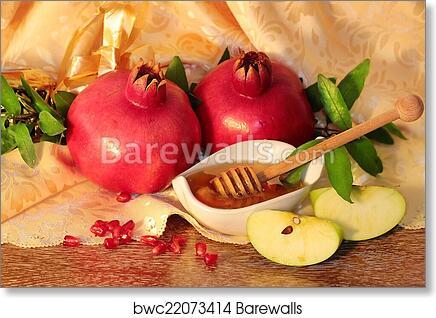 Art Print Of Rosh Hashanah Symbols Honey Apples And Pomegranate