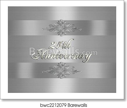 25th Silver Wedding Anniversary Invitation Art Print Poster