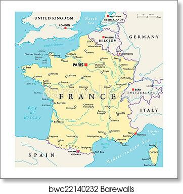 Map Of France Political.France Political Map Art Print Poster