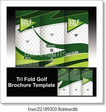 art print of tri fold golf brochure template