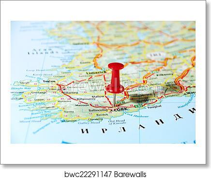Map Of Ireland United Kingdom.Cork Ireland United Kingdom Map Art Print Poster