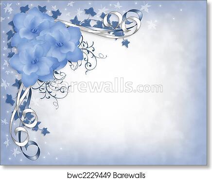 Art Print Of Floral Wedding Border Blue Gardenias Barewalls