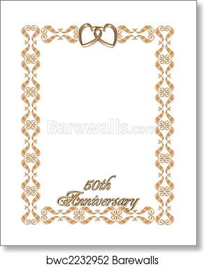 Wedding Invitation Border Gold 50th Art Print Barewalls Posters