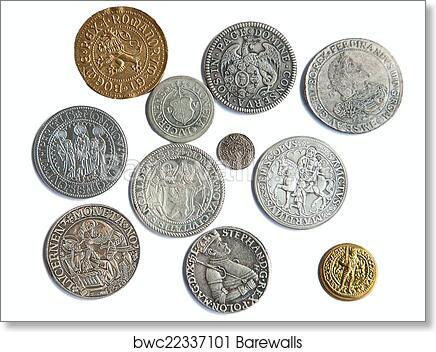 Medieval coins art print poster