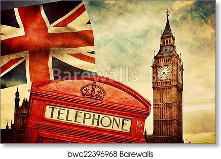 London Print Phone Box British Decor Black White Red England Picture London Photography Photo Photograph Wall Art Print Phone Booth