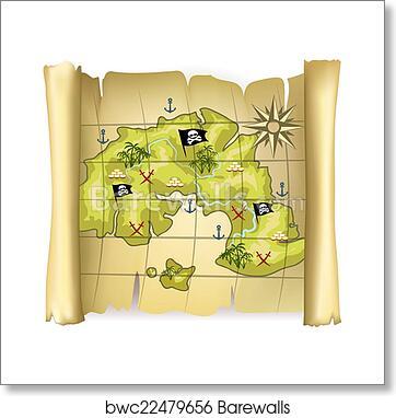 Pirate map art print poster on rose color, rose date, rose print, rose path, rose tree, rose street, rose kill,