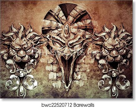 Art Print of Tattoo art, fantasy medieval gargoyle over antique wall ...