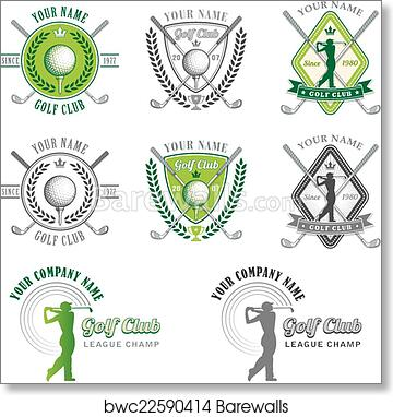Green Golf Club Logo Designs Art Print Barewalls Posters Prints Bwc22590414