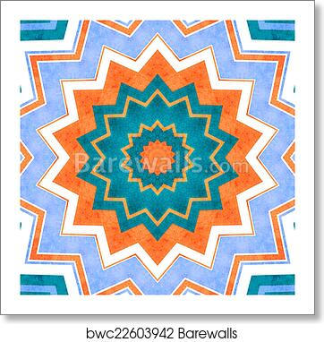 art print of abstract background crazy colorful lines star blue