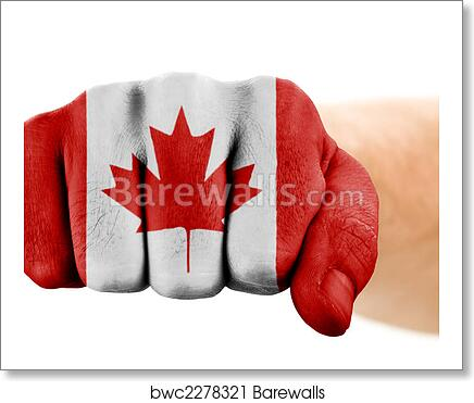 Fist With Canadian Flag Art Print Poster