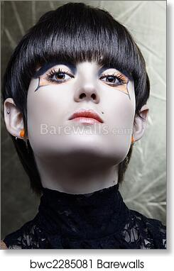 art print of emo girl with straight fringe bob and alternative make