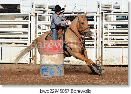 Western Rodeo Cowgirl Barrel Racer Hat Wall Picture Art Print
