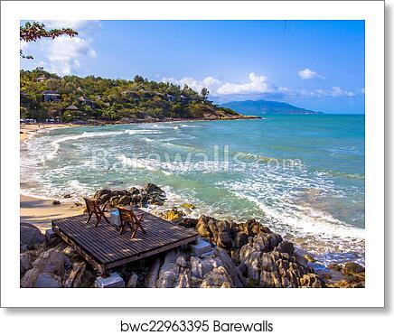 Art Print Of Two Beach Chair Beside The Nice
