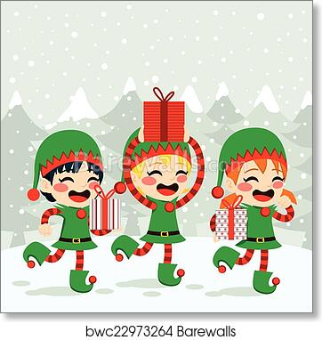 Christmas Elves.Christmas Elves Carrying Presents Art Print Poster