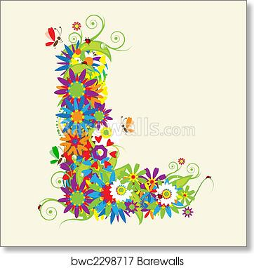 Letter Art Print.Letter L Floral Design See Also Letters In My Gallery Art Print Poster