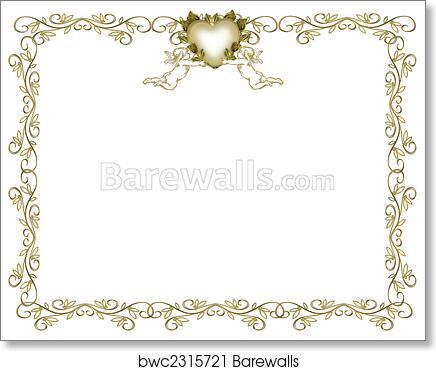 Wedding Invitation Gold Border Angels Art Print Barewalls