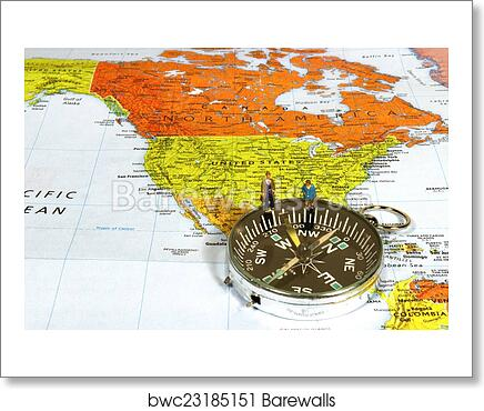 Art Print of Business man and woman on map showing the United States ...