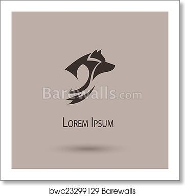 Silhouette of a wolf head  Vector stylized logo art print poster