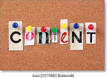 Art print of content single word barewalls posters prints the word content in cut out magazine letters pinned to a corkboard spiritdancerdesigns Images