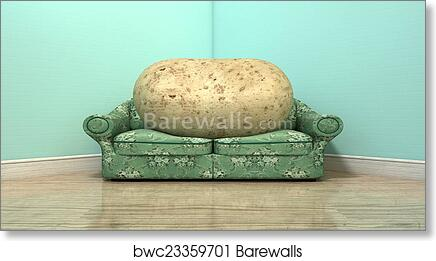 Couch Potato On Old Sofa, Art Print