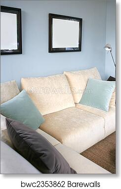 Living Room With Sofa And Blue Wall Interior Design Art Print