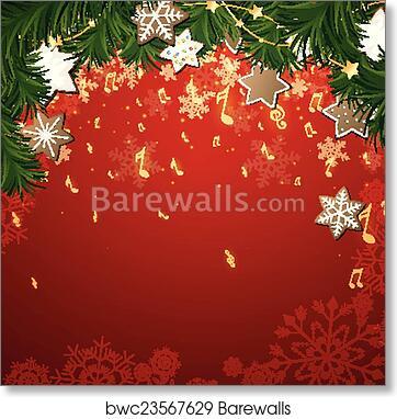 Christmas Music Background.Vector Christmas Music Background Art Print Poster