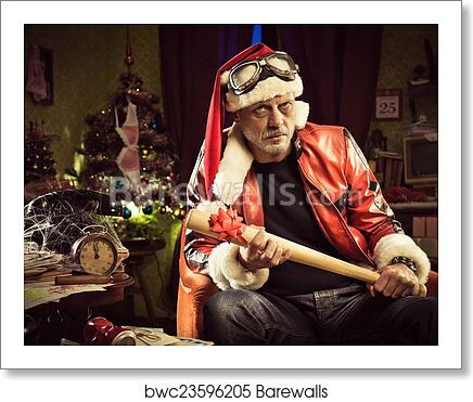 Art Print of Bad Santa with bad Christmas gift | Barewalls Posters ...
