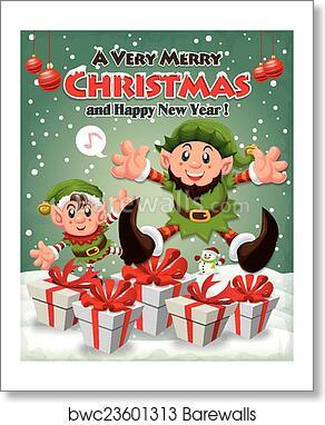 Vintage Christmas Poster Design Wit Art Print Poster