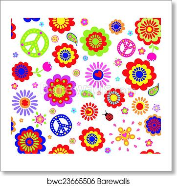 Hippie wallpaper with abstract flow, Art Print