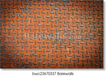 Background Of Old Metal Diamond Plate In Red Color With Rusty Art Print Poster