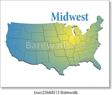 Us States Regional Midwest Map Art Print Barewalls Posters - Map-of-the-midwest-us