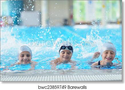 Children group at swimming pool art print poster