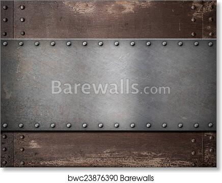 Art Print Of Metal Plate With Rivets Over Rustic Steel Background