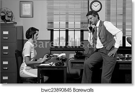 Art print of 1950s style office