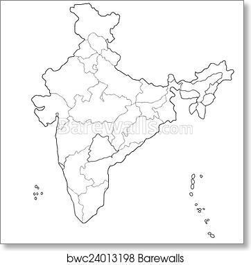 Art print of map of india barewalls posters prints bwc24013198 art print of map of india thecheapjerseys Images