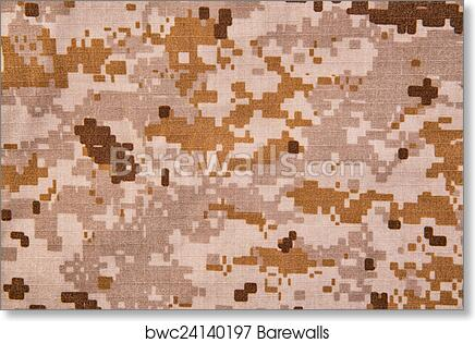 Desert Digital Camouflage Fabric Texture Background Art Print Poster