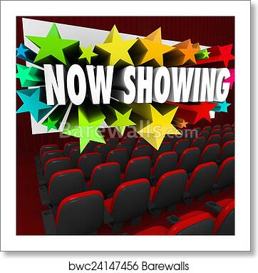 art print of now showing words movie screen attend viewing event