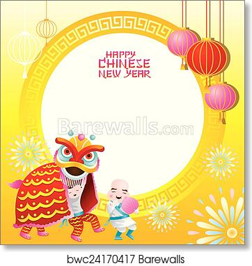 art print of chinese new year frame lion dance barewalls posters prints bwc24170417