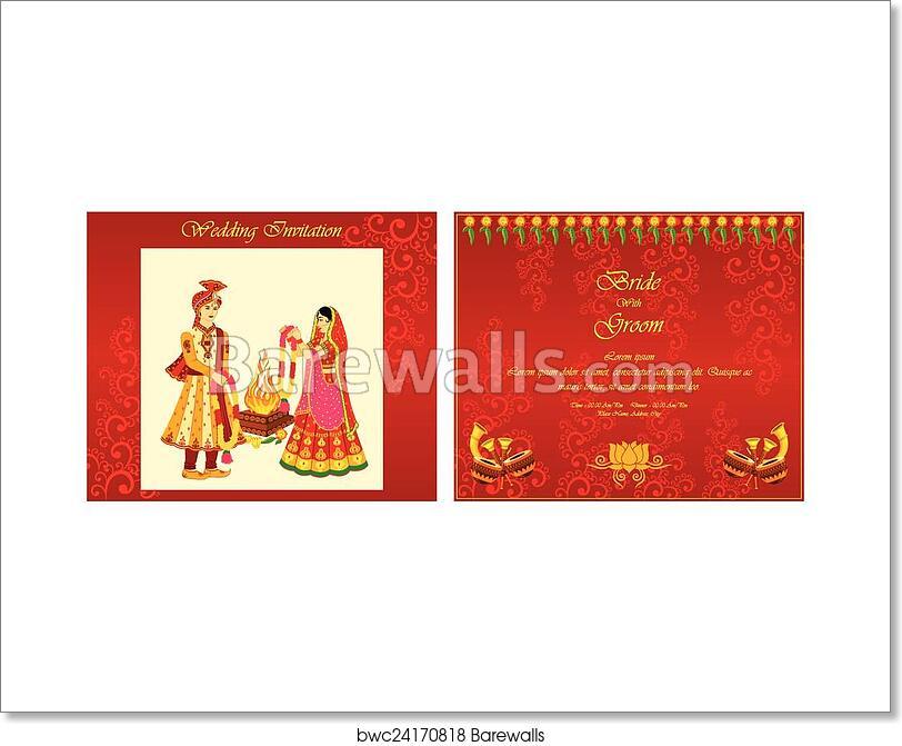 Indian Wedding Invitation Card Art Print Barewalls Posters Prints Bwc24170818